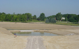 Detention Basin with Straw Blankets